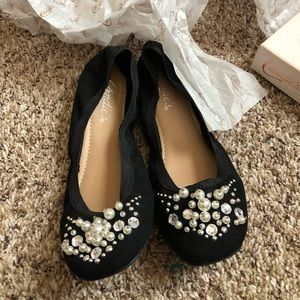 candies Womens Shoes Black Cinema Style With Pearl
